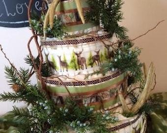 HUNTING/CAMO 4-Tier Diaper Cake, Baby Shower, Baby Diapers, Antlers, Deer, Branches, Evergreen, Juniper