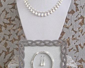 Pearl & Sterling Silver Dangles Matching Set (Necklace, Bracelet, Earrings)