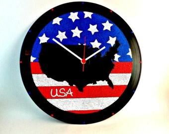 USA, Wall clock, USA map, USA clock, Vinyl clock, Wall art, Home Decor, MiniDotClocks