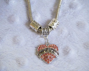 Nana Pink Love Heart Charm Bracelet