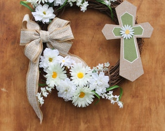 rustic grapevine wreath with burlap & lace bow, white daisies and burlap cross