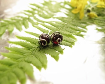 Tiny Garnet and Silver Stud Earrings- Sterling Silver Plated, Genuine Garnet, Delicate Studs