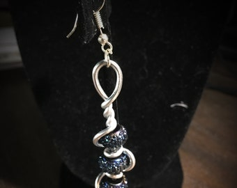 Silver Beaded Spiral Earrings 038