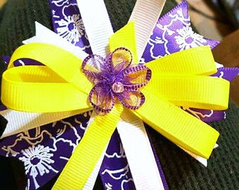 Purple and yellow bow