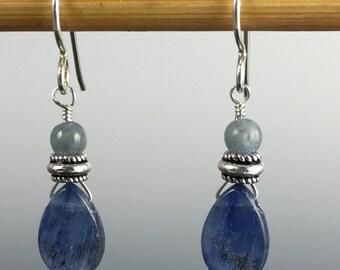 Kyanite gemstone and sterling silver earrings