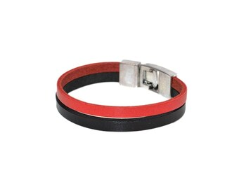 Black Red Leather Band Bracelet / Stacking Leather Bracelet, Leather Wristband / Leather Wrap Bracelet, Mens Bracelet, Leather Cuff Bracelet