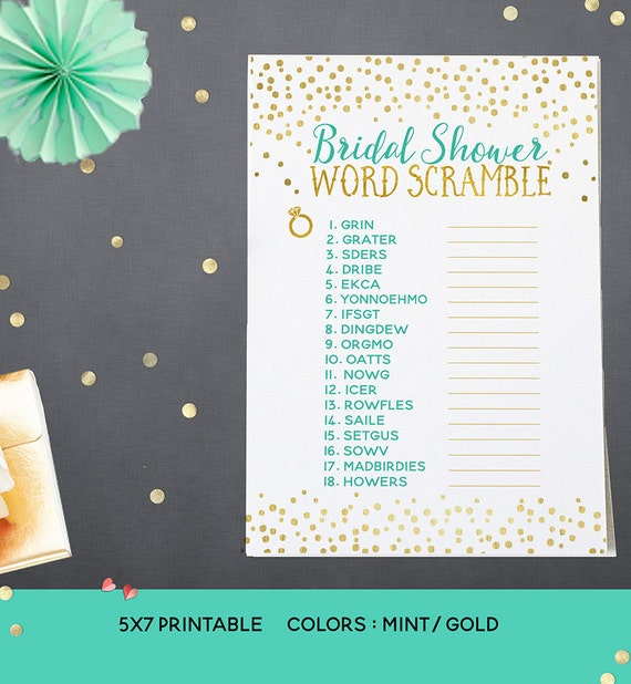 Mint & Gold Bridal Shower Word Scramble Printable - Printable Mint Bridal Shower Game