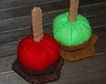 Felt Candy Apples - Chocolate Apple - Caramel Apple - Felt Food  Set - Autumn - Halloween Decor - Kids Toy - Play Kitchen Set - Pretend Play