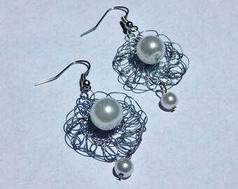 Silver Pearl Earrings- Handmade Crochet Wire Earrings- Trixified