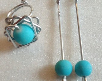 set ring and earrings, turquoise stone aluminum