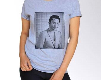 Ed Westwick T Shirt - Pop Art - White and Gray - S M L