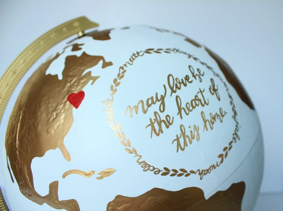 """Custom Globe – Hand Painted with Continents and Quote/Lyrics/Bible Verse of Your Choice – Home Decor, Office Decor, Gift – 12"""" Diameter"""