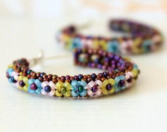 Hoop Earrings, Silver Hoops Earrings, Seed Beads Earrings, Boho Earrings, Boho Hoops
