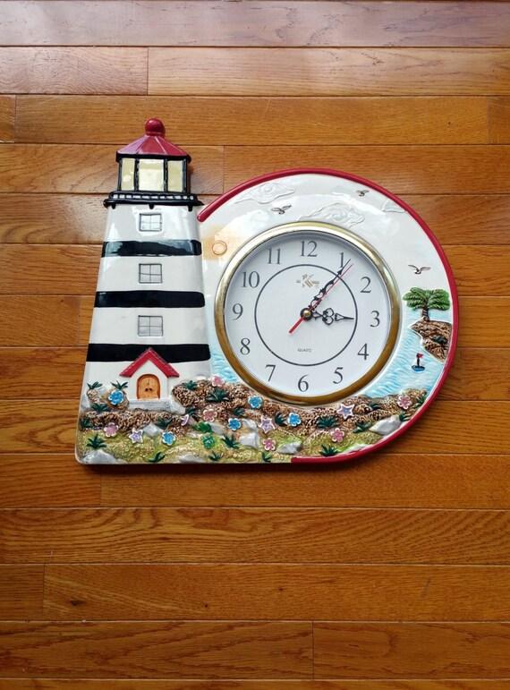 lighthouse decor vintage wall clock coastal beach cottage. Black Bedroom Furniture Sets. Home Design Ideas