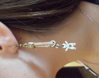 Handmade  earrings two boys ,Portuguese natural cork