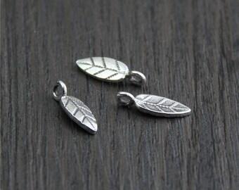 4 Karen hill tribe Sterling Silver Leaf Charm,Silver leaves charms,Leaf pendant