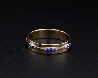14k solid gold women wedding band, Wave wedding ring, Unique wedding ring, Delicate ring gold, Women gold band, Wedding band for women