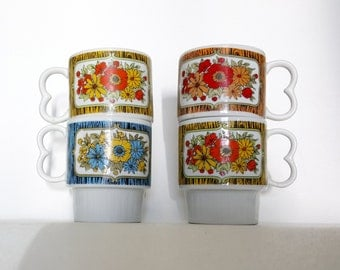 Vintage Mug Set   Retro Bright Stacking Coffee Cups   1960s Flower Power Stackable Mugs