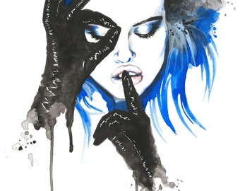 XOXO - Watercolor Fashion Illustration by Daniel Paige (Print)
