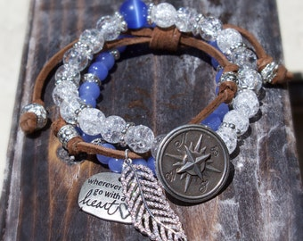 Boho bracelet, leather, compass, mother's day gift, beaded bracelet, feather bracelet, inspirational jewelry, graduation sweet 16 gift,