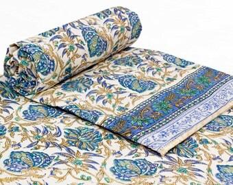 Block printed quilt