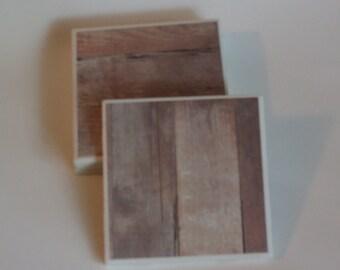 Rustic Wood Ceramic Tile Coaster Set