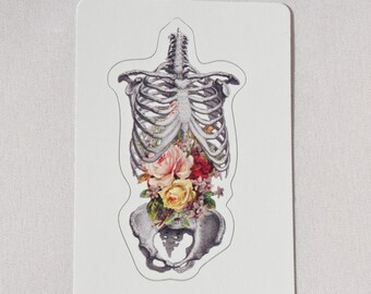 Skeleton floral sticker rib cage flowers creepy cute