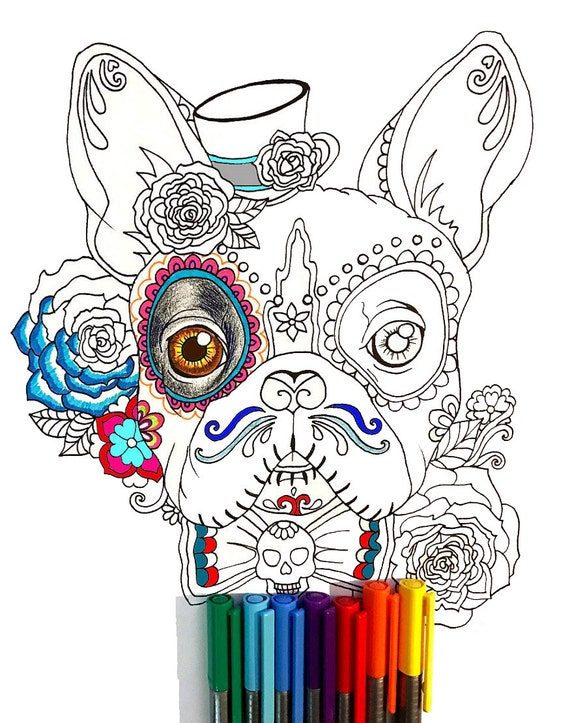 Day Of The Dead French Bulldog Coloring Page