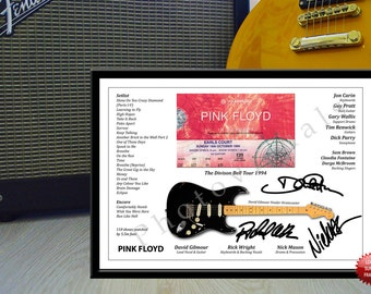 Pink Floyd The Division Bell 1994 Concert Ticket Signed Photo Print