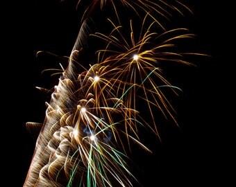 Gold white and blue firework