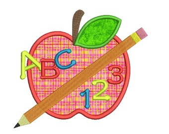 Back to the school embroidery design - Apple applique design - School embroidery - Pencil embroidery - Machine embroidery -INSTANT DOWNLOAD