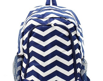 Monogrammed Navy Chevron Backpack- Personalized Gift-Monogram Backpack-Personalized Backpack
