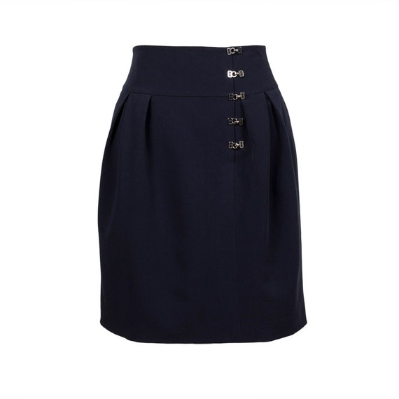 Navy Pencil Skirt high waist skirt business skirt knee