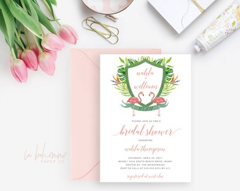 Printable Bridal Shower Invitation / Flamingo, Tropical Invite, Crest, Wedding Shower - Nahla