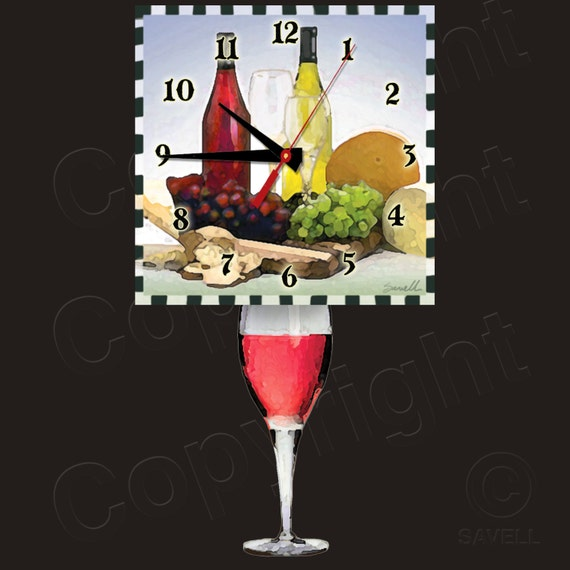 Red Wine Clock with Wine Glass Pendulum • Wine Clock