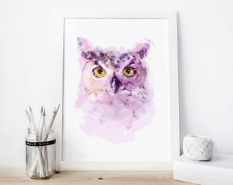 Owl Printable, owl decor, owl print, owl Watercolor owl nursery owl Painting, owl Wall Art Purple owl woodland nursery woodland owl gifts
