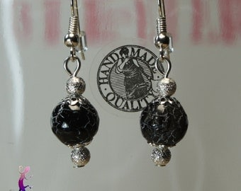 Silver metal beads and black cracked agate earrings