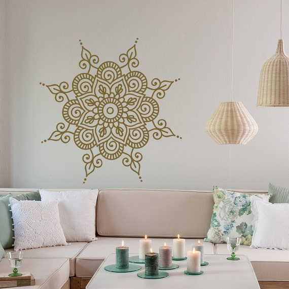 Mandala Wall Decal Vinyl Sticker Mandala Wall Art Boho - Yoga studio wall decals
