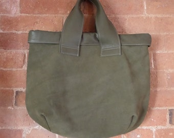 Sage green suede and leather contrast print lined tote bag