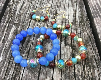 Royal Blue Moon stone with gold and brown bead bracelet and earring set