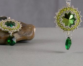 Gold Earrings, green hanging earrings, earrings, glass beads, boho, tribal, romantic, Silver earrings, Bridal jewelry, wedding