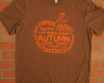 Pumpkin Word Art T-Shirt/Wordy Pumpkin Shirt/Autumn T-Shirt/Pumpkin T-Shirt/Autumn Words T-Shirt/Fall T-Shirt/Halloween Shirt/Thanksgiving