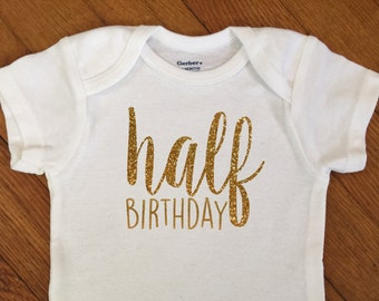 SALE! Half Birthday Shirt, Half Birthday Outfit, Glitter Number 1/2 Birthday Bodysuit, 1/2 Year Onesie®, One Half Birthday, Birthday Party