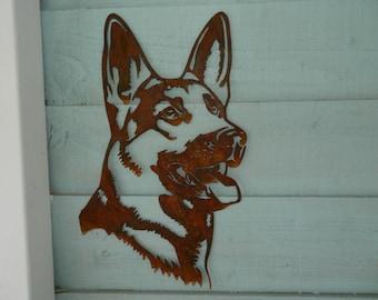 German Shepherd Head / German Shepherd Gift/ Dog Garden Art / Dog Garden Decoration / Dog Lover Gift / Dog Garden Wall Hanger / Rusty Metal