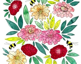 Bumblebees and Zinnias watercolor painting print 10x10