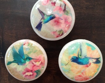 1.5 inch Hummingbirds cabinet knobs drawer pulls decoupaged