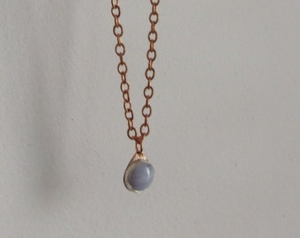 Blue Lace Agate pendant with copper chain