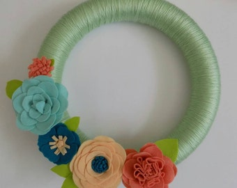 "Felt Flower Wreath, Coral, Peach, & Teal, Yarn Wrapped, 14"", Spring Wreath, Summer Wreath"