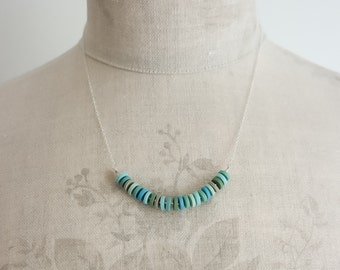 Tiny Polymer Clay Disc Necklace in Aqua Blue | Minimalist | Contemporary | Everyday Jewellery