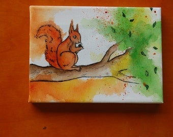 Red Squirrel on a Branch: Mini Canvas & Easel